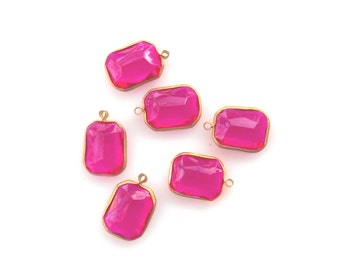 Fushia Pink Acrylic Rivoli bead pendant, Set 25mm 1 Loops bead pendant  Rivoli bead pendant, vintage acrylic crystal bead, 6