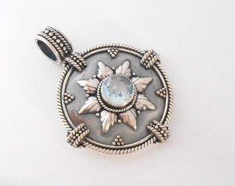 Silver sterling genuine blue topaz gemstone oxidized Pendant  / silver 925 / Bali  handmade jewelry / (#16p)