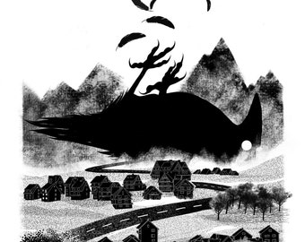 Ravensville A4 Giclée fine art print on 255gsm archival paper