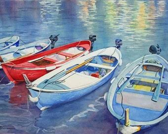 fishing boats, marina, harbor painting, watercolor art, watercolor print