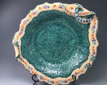 Large salad bowl/dragon fly gift/dragonflys/pottery bowl/footed bowl/salad bowl/turquoise/patterned pottery/textured pottery/wedding gift