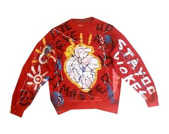 Medium Red Hand Painted Sweat Shirt