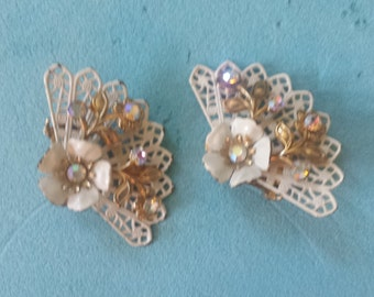 Coro Signed White Fan Rhinestone Earrings