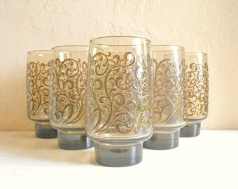 Set of 6 Tall Brown Smoke Glass Swirl Mid-Century Drinking Glasses Highball Tumblers