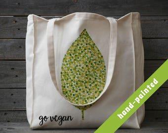 vegan tote/ Vegan Bag/ vegan gift/ vegan Tote Bag/ Plant Tote Bag/ Leaf Bag/ botanic/ Floral bag/ Tote bag, canvas tote bag, canvas tote