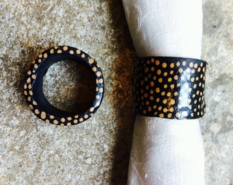 set of handmade ceramic napkin rings