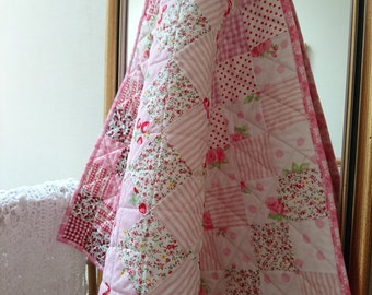 Strawberry Pink Baby Quilt