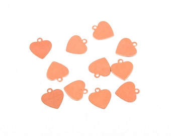 "10 HEART COPPER Metal Stamping Blanks Charms 3/4"" (18mm) Tag, 24 gauge, msb0329"