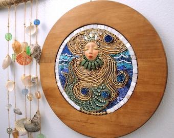 "Beaded Mosaic Art on Wood - ""Sea Queen"" - Mermaid Wall Hanging - Circular"