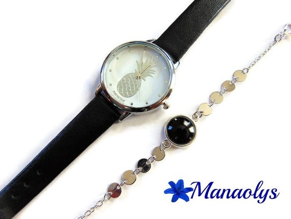 Pineapple and bracelet watch fine glass cabochon black, silver chains, gift idea, mother's day, birthday