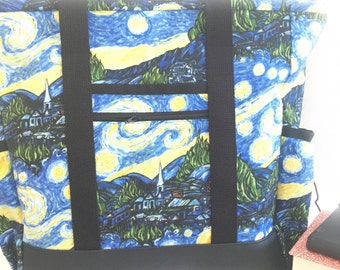 Large Tote Bag with Pockets, Kitchen Sink, Professional Tote, Travel Tote, Teacher Bag, Van Gogh Starry Night Teacher Tote, Knitting Bag