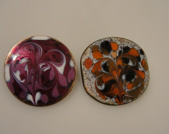 Inga mid century enamel over copper pin brooches signed red or purple
