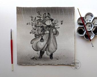 Rabbit in Rain - Original Painting by Nicole Gustafsson