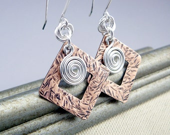 Copper Earrings, 7th Anniversary Gift, Cool Earrings, Gift Under 30, Silver Spiral Earrings, Copper Jewelry,  Mixed Metal Earrings