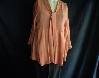 Vintage blouse caramel color chiffon.