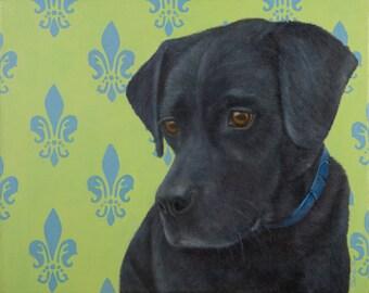 Labrador Retriever Painting - Black Lab Painting - Proceeds Benefit Animal Charity
