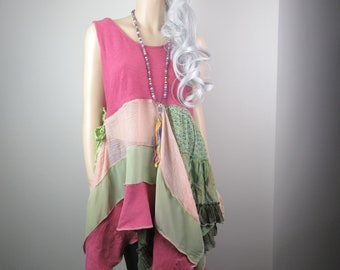 Lagenlook Boho Tunic Fuschia Pink & Sage Green Linen Gauze Crepe Flowing with Tattered Silk Ties One Size Fits S - L