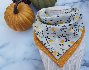 LEMON double layered bib: yellow bib, bandana bib, girl bib, layered bib, four layer bib, drool bib, baby accessory