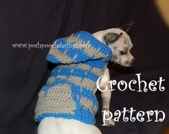 Instant Download Crochet Pattern- Hooded Dog Sweater - 2 color  - Small Dog 2-20 lbs