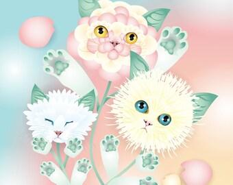"""Kitten Bouquet - 10""""x10"""" Print"""