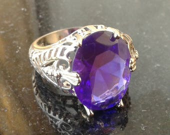 Bold Amethyst sterling silver 925 ring size 7