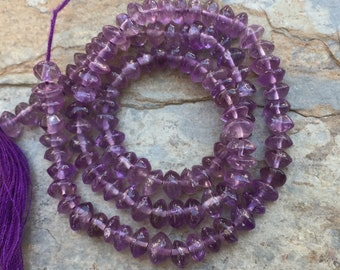 Amethyst Rondelles, Amethyst Beads, Natural Amethyst Rondelles, choose 4 to 5.5mm, 13.5 inch strand