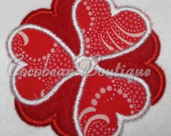embroidery applique heart flower