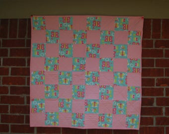Baby Quilt - Pink/Lime Green/Turquoise Butterfly