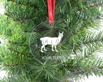 Personalized Custom Llama Clear Acrylic Christmas Tree Ornament with Ribbon