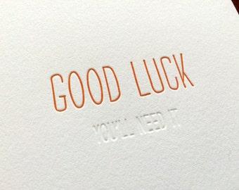 Hidden Message: Good Luck, single letterpress card