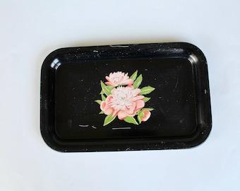 Vintage 1950s Black Rectangular Metal Tray with Pink Roses