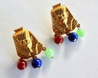 Mid Century Egyptian Revival Pharaoh Head Glass Beads Earrings