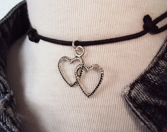 Twin Hearts Necklace ~ Valentines Heart Choker Necklace ~ Double Heart Necklace
