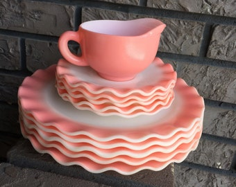 Hazel Atlas Pink Crinoline Dinner Plates Saucers and Creamer