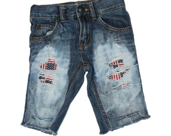 Boys Freedom Flag distressed Shorts 4th of July outfit/patriotic shorts