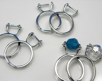 12 pcs - Adjustable Silver Finger Ring Setting, Ni-free, Pb-free, add-a-bead