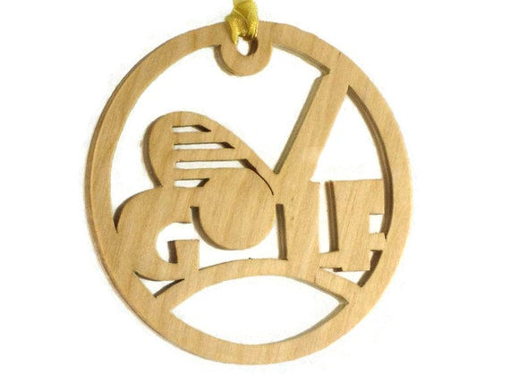 Golf Christmas Ornament With Golf Ball and Club Handmade From Birch Wood