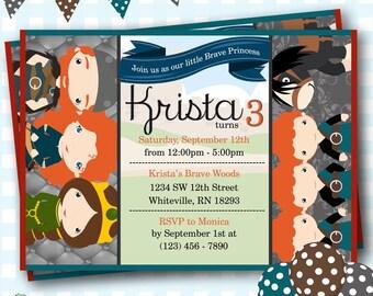 Brave Invitation, Brave Birthday Party, Merida Birthday Invitation, Disney Brave Party, Printable Merida Party Invite, Digital Brave Invite