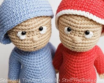 Seamless Toddler Doll Amigurumi Pattern, Baby Boy Crochet Pattern, Baby shower, birthday present for kids, santa's little helper, christmas