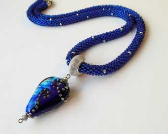 Royal blue Bead Necklace crochet rope Pendant Lampwork glass sea glass beach jewelry ready to ship luxury jewelry Anniversary gift