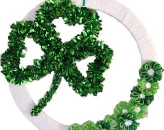 Clover Wreath, Green and White St. Patrick's Day Yarn Shamrock Wreath