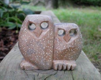 Vintage Owl Statue / Figurine / Retro Chic Home Decor - Rustic Stone Woodland Owls Paperweight - Mid Century Era New House Housewarming Gift