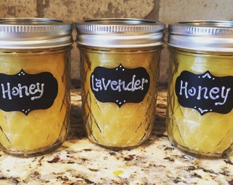 Beeswax Candle, 100% pure beeswax, aromatherapy candle, mason jar, natural, clean burning, eco-friendly, non-toxic, 8oz candle