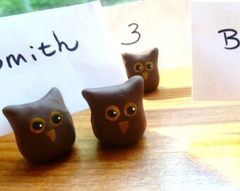 Set of Four Hand Sculpted Owl Place Setting Card Food Marker Holders