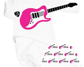 Baby Girl Take Home Outfit, Personalized Baby Girl Coming Home Outfit, Baby Girl Gift Set, Guitar Baby Clothes