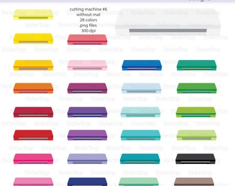 Cutting Machine withOUT mat (Set #6) Icon Digital Clipart in Rainbow Colors - Instant download PNG files