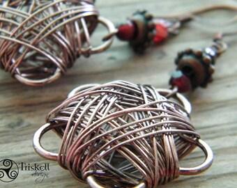 Cornelian earrings, Wire wrapped dangle earrings, antique copper, handmade in italy, artistic wire earrings, OOAK, cornelian earrings