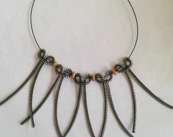 Unique Jewelry - Zipper Necklace - Wooden Beads