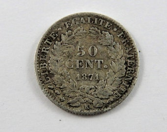 France 1871 K Silver 50 Centimes Coin.