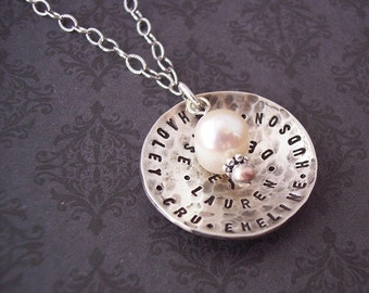 NEW Custom Personalized DOMED DISC hand stamped sterling silver necklace with pearl